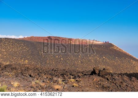 Mount Etna In Sicily Near Catania, Tallest Active European Volcano In Italy. Panoramic Wide View Of