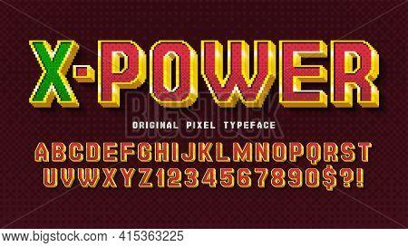 Pixel Vector Alphabet Design, Stylized Like In 8-bit Games.