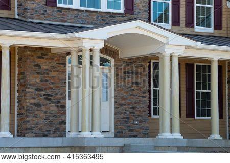 Columns Of The Veranda Of The New House Porch Modern