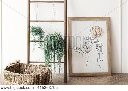 Wooden frame feminine line art woman illustration