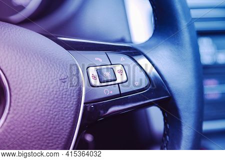 Novosibirsk, Russia - April 01 2021: Volkswagen Polo,  Black Steering Wheel With Multifunction Butto
