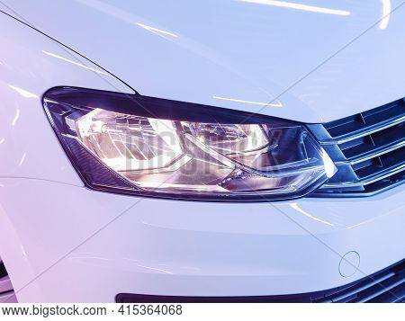 Novosibirsk, Russia - April 01 2021: Volkswagen Polo,  Detail Light Close Up Of On New Car Under Pin