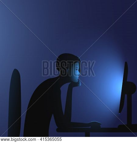 Internet Addiction. A Woman With A Bob Hairstyle Sits At A Computer Late At Night. Vector Illustrati