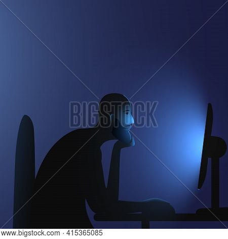 Internet Addiction. A Caucasian Hairless Man With A Beard Sits At A Computer Late At Night. Vector I