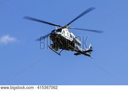 Washington Dc, Usa 11-02-2020: A Helicopter (bell 412 Rotorcraft) Belonging To Us Department Of Ener