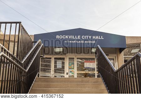 Rockville, Md, Usa 11-01-2020: Exterior View Of Rockville City Hall Building. Rockville Is The Count