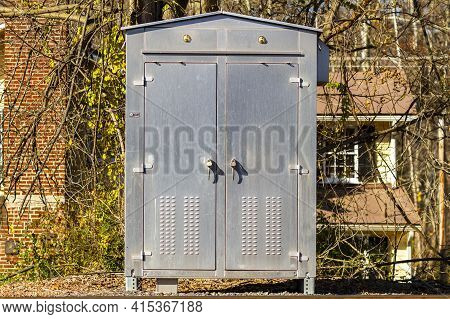 Stainless Steel Metal Cabinet For Outdoor Use. Immobilized To Ground And Locked With Padlocks This B
