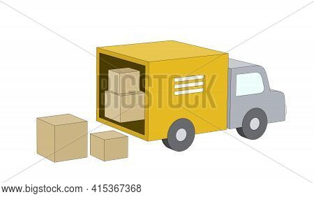 Packing And Loading Or Unloading A Moving Or Cargo Truck, Some Cardboard Boxes Inside The Truck And