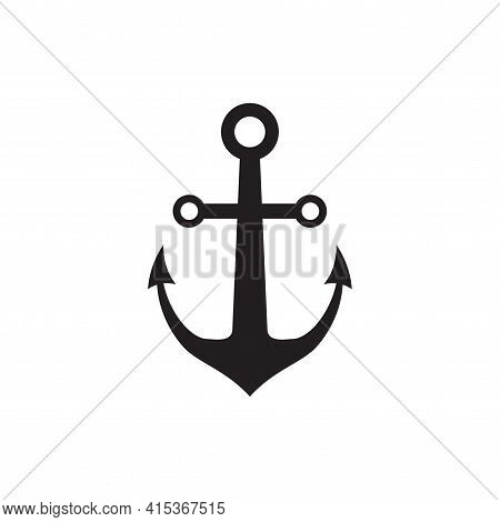 Anchor Icon Isolated, Anchor Icon Simple Sign For Logo On White Background Vector Illustration