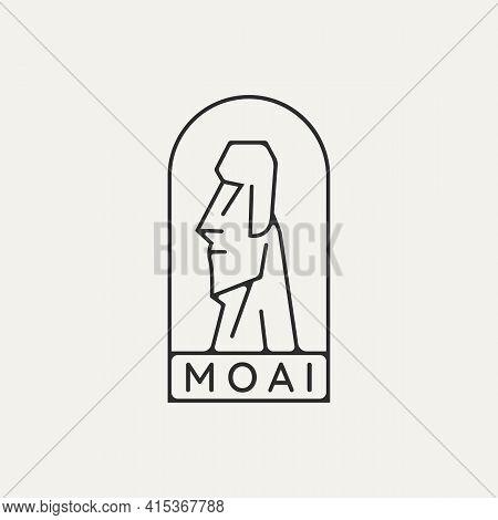 Moai Sculpture Emblem Minimalist Line Art Logo Template Vector Illustration Design. Simple Modern Ch