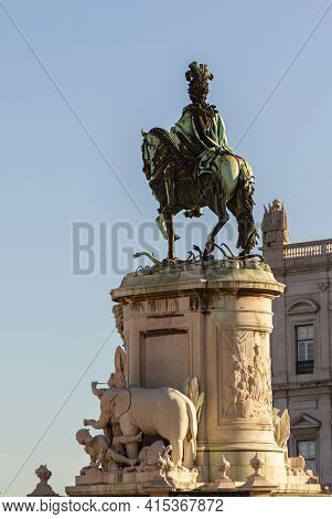 From Behind View Of Statue Of King Jose I Of Portugal On A Horse Crushing The Snakes On His Path. Br