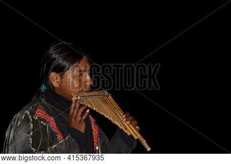Nazare, Portugal, 07-11-2010: A Native South American Street Performer Wearing Traditional Clothes I