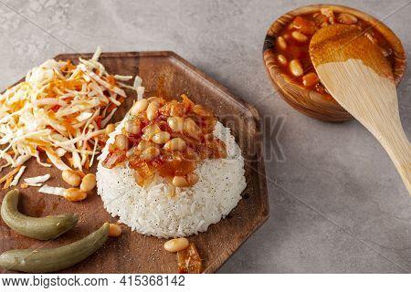 Bean Stew Over Rice Pilaf Known As Pilav Ustu Kuru Fasulye Is A Popular Dish In Turkey Where Haricot