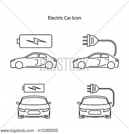 Electric Car Icon Isolated On White Background. Electric Car Icon Thin Line Outline Linear Electric