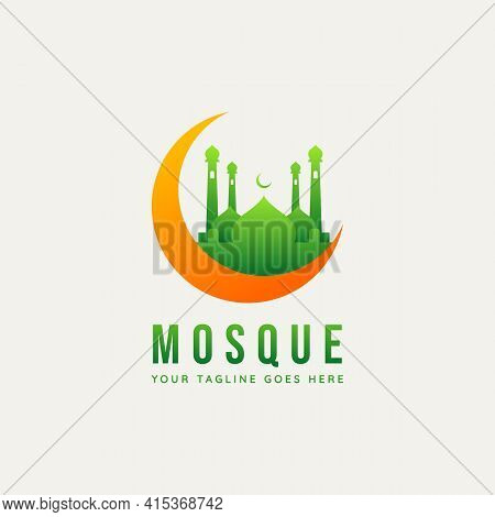 Mosque And Creased Moon Minimalist Flat Logo Icon Template Vector Illustration Design. Simple Modern