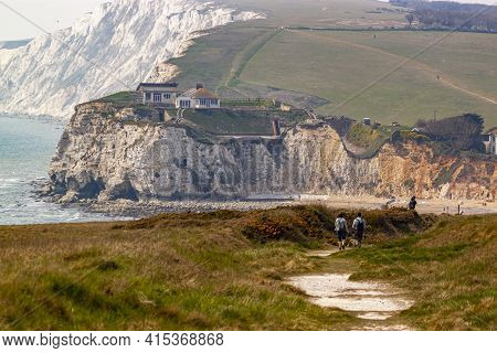 Rugged Coastline Of Isle Of Wight Featuring Freshwater Bay, Promontories, Cliffs And Beaches. A Coup