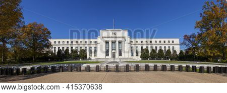 Washington Dc, Usa, 11-06-2020:  Panoramic View Of The Marriner S. Eccles Federal Reserve Board Buil