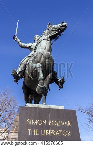 Washington Dc, Usa 11-29-2020: Close Up Frontal Image Of The Statue Of Simon Bolivar On A Horse With