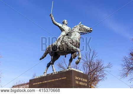Washington Dc, Usa 11-29-2020: Close Up Angled Image Of Statue Of Simon Bolivar On A Horse With His