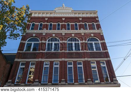 Frederick, Md, Usa 10/13/2020:  A Tall Brick Building In Downtown Frederick, Used As Masonic Temple