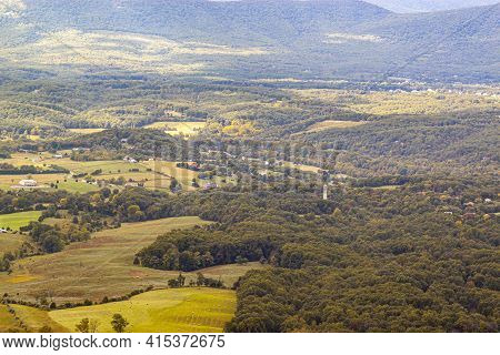 A Scenic Vista Of Shenandoah Valley As Seen From A Scenic Overlook By Skyline Drive. There Are Small
