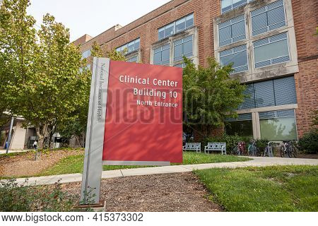 Bethesda, Md, Usa 09/15/2020: Clinical Center (building 10)  Inside National Institutes Of Health (n