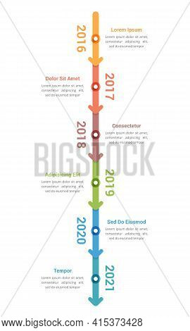 Vertical Timeline Infographics Template With 6 Arrows, Workflow, Process Chart, Vector Eps10 Illustr