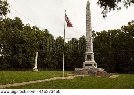 Point Lookout, Md, Usa 09/19/2020: View Of Confederate Cemetery Near Former Prisoner Of War Camp At