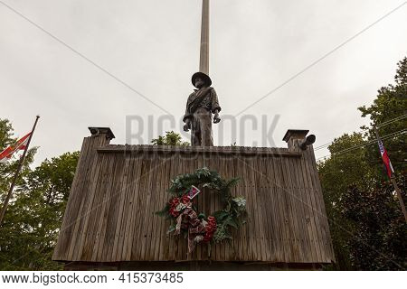 Point Lookout, Md, Usa 09/19/2020: Statue Of An Unknown Confederate Soldier Located In The Confedera