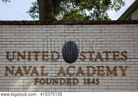 Annapolis, Md 08/21/2020: Outside View Of The Naval Academy In Annapolis, Md . Image Shows Usna Seal