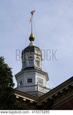 Bug Eye View Of Maryland State House (state Capitol) Building In Annapolis. Image Features The Iconi