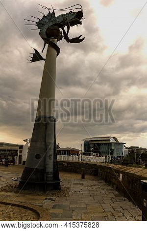 Plymouth, Uk 05/10/2010: Statue Of A Biblical Sea Creature (leviathan) On A Column (a.k.a Barbican P