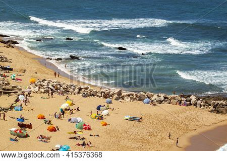 Aerial View Of A Sandy Beach On The Coast Of Mediterranean Sea, Cadiz/spain. There Are Alternating S