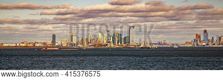 A Sunset Panorama Of Jersey City Skyline Featuring The Skyscrapers, Upper Bay, Hudson River Mouth, P