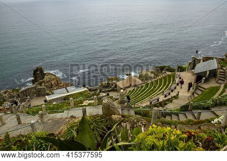 Penzance, Uk 03/10/2010: Aerial View  Of The Minack Theatre, A Unique Amphitheater Carved In A Rocky