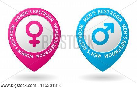 Vector Pink And Blue Map Pointer With Restroom Icon