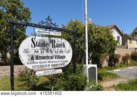 GARDEN GROVE, CALIFORNIA - 31 MAR 2021: Stanley Ranch Museum sign at the entrance to the historic buildings park on Euclid Avenue.