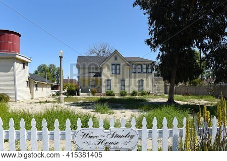 GARDEN GROVE, CALIFORNIA - 31 MAR 2021: The Ware Stanley House at Stanley Ranch Museum on Euclid Avenue.
