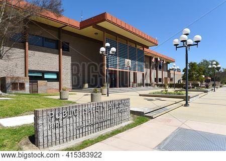 GARDEN GROVE, CALIFORNIA - 31 MAR 2021: Public Safety sign at the Garden Grove Police Department Building.