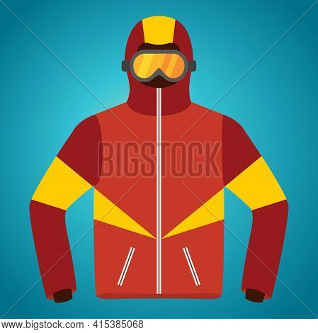 Ski Jacket Vector. Warm Outdoors Garment For Winter Sports