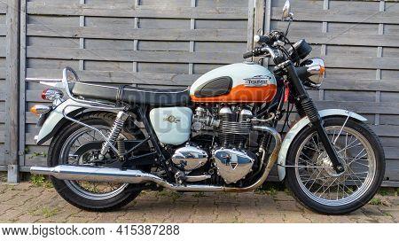 Bordeaux , Aquitaine France - 03 29 2021 : Triumph Bonneville T100 Bonnie 50 Th Anniversary Bike Par