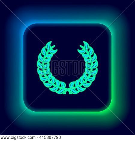 Glowing Neon Line Laurel Wreath Icon Isolated On Black Background. Triumph Symbol. Colorful Outline