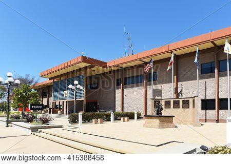 GARDEN GROVE, CALIFORNIA - 31 MAR 2021: The Garden Grove Police Department and Fire Department Buildings.