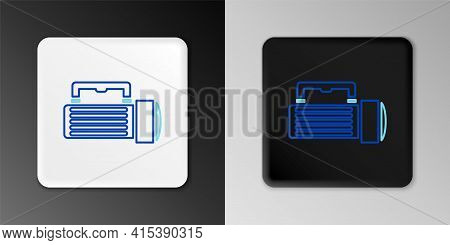 Line Flashlight Icon Isolated On Grey Background. Tourist Flashlight Handle. Colorful Outline Concep
