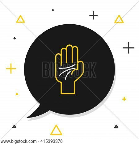 Line Palmistry Of The Hand Icon Isolated On White Background. Colorful Outline Concept. Vector