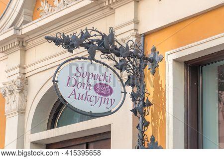 Gdansk, Poland - March 31, 2021: Sopocki Dom Aukcyjny (polish: Sopocki Dom Aukcyjny).