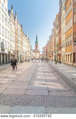 Gdansk, Poland - March 31, 2021: View Of Long Lane (polish: Dluga) In Old Town Of Gdansk.