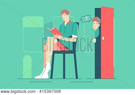 Curious Guy Peeps On Friend Vector Illustration. Man Reading Book On Chair Flat Style. Boy Look Out