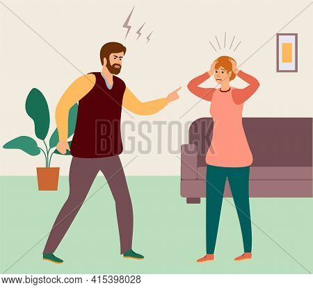 People Shouting, Quarrel Illustration. Aggressive Screaming Characters. Screaming Boy And Girl, Angr