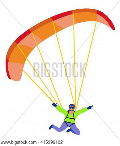 Skydiver Flat Vector Character. Isolated. Leisurely Parachutist Isolated On White Background, Parach
